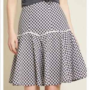 ModCloth Daisy Print Appliqué A Line Skirt